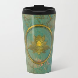 Elegant  Gold Lotus flower on marble Travel Mug
