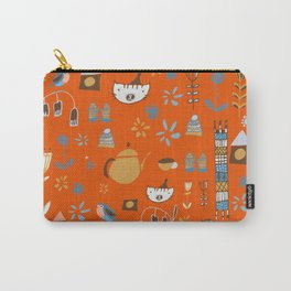 hygge cat and bird orange Carry-All Pouch