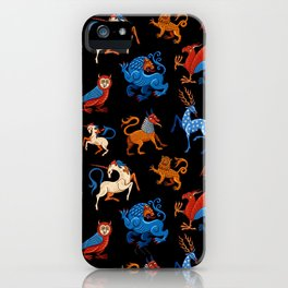 Magic unicorn and gryphon. Medieval fantastic beasts iPhone Case