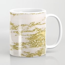 Marble - Gold Marble Glittery Light Pink and Yellow Gold Coffee Mug