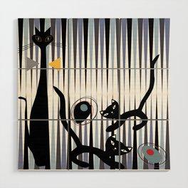 Mid-Century Modern Art - Cat & Kittens Wood Wall Art