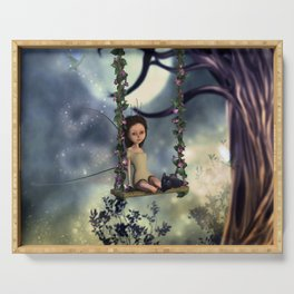 Cute little fairy with kitten on a swing Serving Tray
