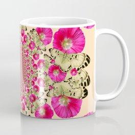 modern art cerise pink hollyhock & yellow butterflies Coffee Mug