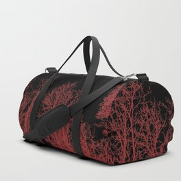 Creepy trees silhouette, red on black, minimal, minimalist, minimalism Duffle Bag