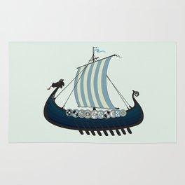 Blue viking ship Rug