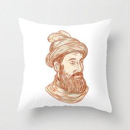 Francisco Pizarro Drawing Throw Pillow