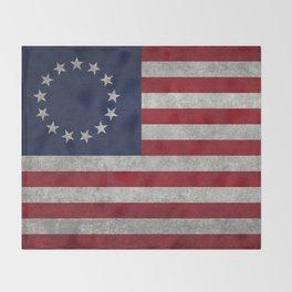 USA Betsy Ross flag - Vintage Retro Style Throw Blanket