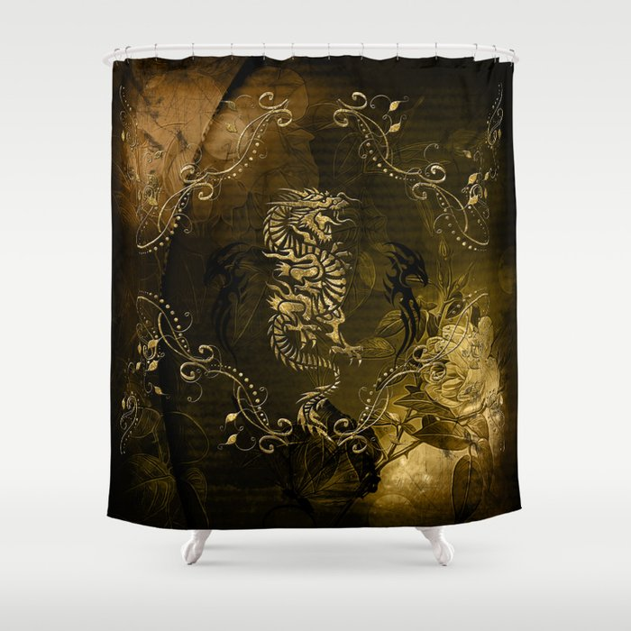Wonderful Golden Chinese Dragon Shower Curtain