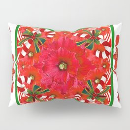 RED AMARYLLIS FLOWERS & HOLIDAY CANDY CANE FLORAL ART Pillow Sham