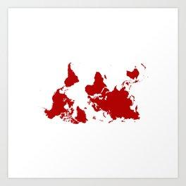 Upside Down World Map - red Art Print
