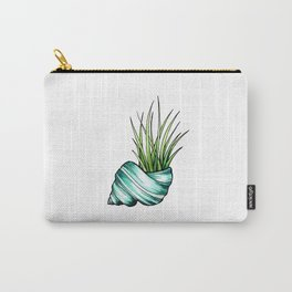 Teal Shell and Plant Carry-All Pouch