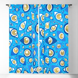 Greek Evil Eye pattern Blues and Gold #3 Blackout Curtain