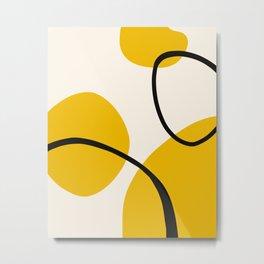 Abstract Yellow Organic Shapes Metal Print