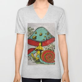 Snail and mushrooms Unisex V-Neck