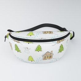 Alpine Ski Resort on White Fanny Pack