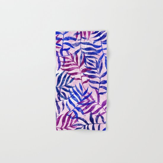 Watercolor Tropical Palm Leaves II Hand & Bath Towel