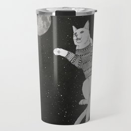 Cat trying to catch the Moon Travel Mug