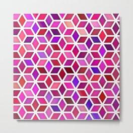 Vector Seamless Pink Shades Gradient Rhombus Shape Grid Geometric Pattern Metal Print