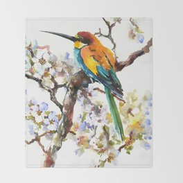 Bee Eater and Apricot Blossom Throw Blanket