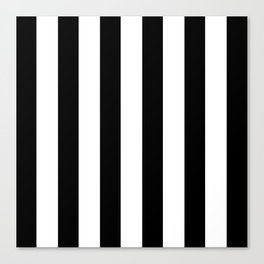 Simply Vertical Stripes in Midnight Black Canvas Print