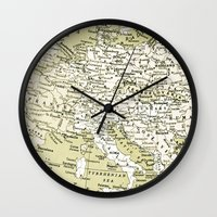 europe Wall Clocks featuring 1938 Europe by inourgardentoo