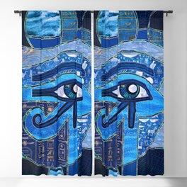 Egyptian Eye of Horus - Wadjet - Mixed Textures Blackout Curtain