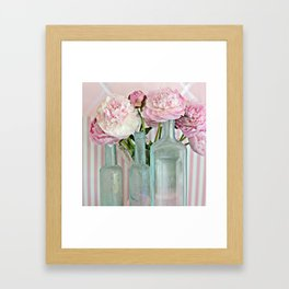 Peonies Shabby Chic Cottage Pink Aqua Peony Bottles Art Print Home Decor Framed Art Print
