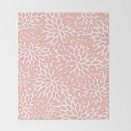 Floral Blooms Pattern, Blush Pink and White Throw Blanket