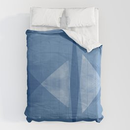 Mid Century Modern Blue and White Geometric Abstract Comforters
