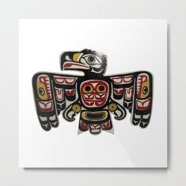 Northwest Pasific American Native Totem Cut In Wood No. 6 Metal Print