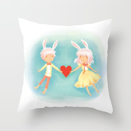Bunny Hearts Throw Pillow