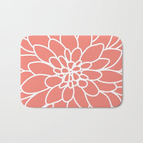 Coral Modern Dahlia Flower Bath Mat