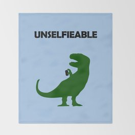 Unselfieable T-Rex Throw Blanket