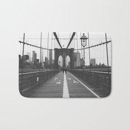 Brooklyn Bridge New York City Skyline Black and White Bath Mat