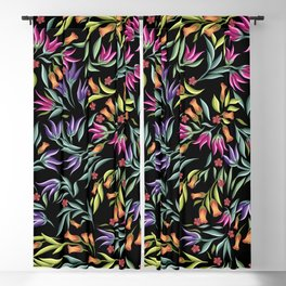 pattern with different wild flowers Blackout Curtain