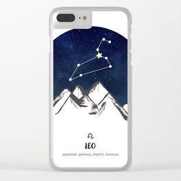 Astrology Leo Zodiac Horoscope Constellation Star Sign Watercolor Poster Wall Art Clear iPhone Case