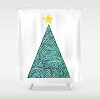 christmas tree Shower Curtains featuring Christmas tree by Bridget Davidson