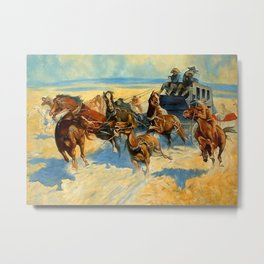 "Frederic Remington Western Art ""Downing the Nigh Leader"" Metal Print"