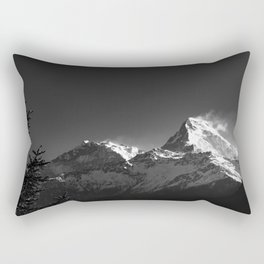 Black and White Snowy Peaks of the Himalaya Mountains. Nature Photography. Rectangular Pillow