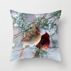 Shining on Her Own (Cardinal) Throw Pillow
