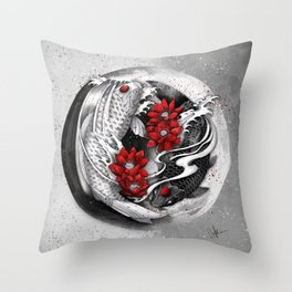 Balance [Yin-yang koi] Throw Pillow