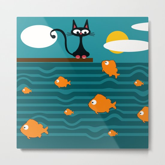 fishes and cat Metal Print
