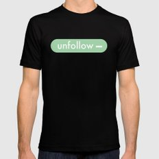 unfollow- Black SMALL Mens Fitted Tee