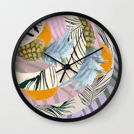 Pineapple Orange and The Pink Pattern Wall Clock