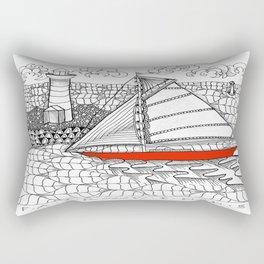 Sailors Dream Fair Winds Sailboat Zentangle Rectangular Pillow