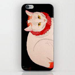 Shotei Takahashi White Cat In Red Outfit Black Background Vintage Japanese Woodblock Print iPhone Skin
