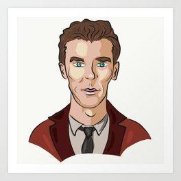 Benedict  Cumberbatch Digital Cartoon Art Print