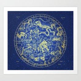 Yellow on Blue Infinity Vintage Astrology Star Map Art Print