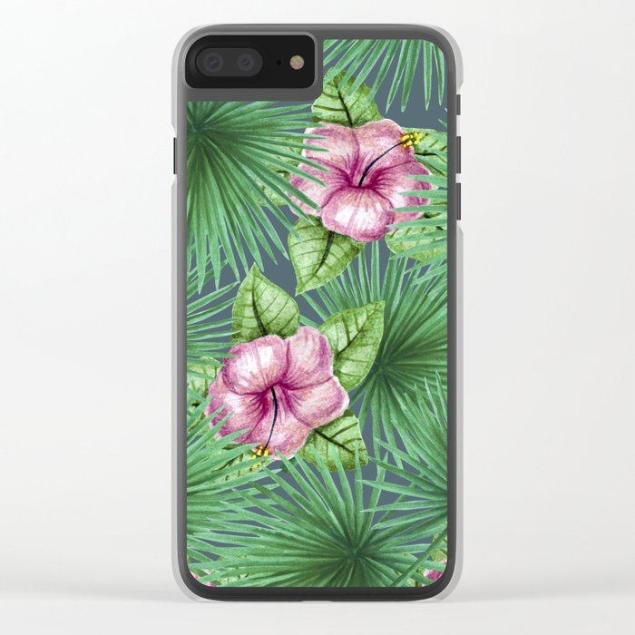 Jungle Love, Palm Leaves And Hibiscus Clear iPhone Case