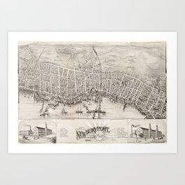 Vintage Pictorial Map of Newburyport MA (1894) Art Print